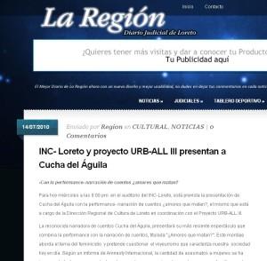 INC- Loreto y proyecto URB-ALL III presentan a Cucha del Águila